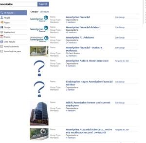 Ameriprise Facebook Search