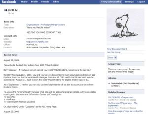 MetLife Dated Facebook Page